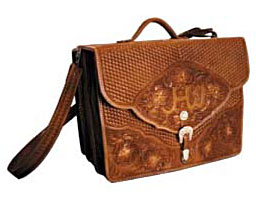 Custom made leather hand tooled briefcase.