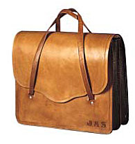 Custom made leather briefcase with initals