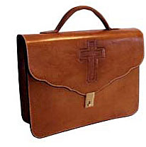 Custom made plain leather briefcase